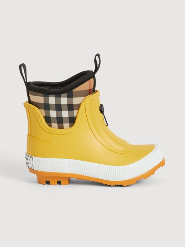 Vintage Check Neoprene and Rubber Rain Boots in Vibrant Lemon | Burberry United Kingdom - cell image 3