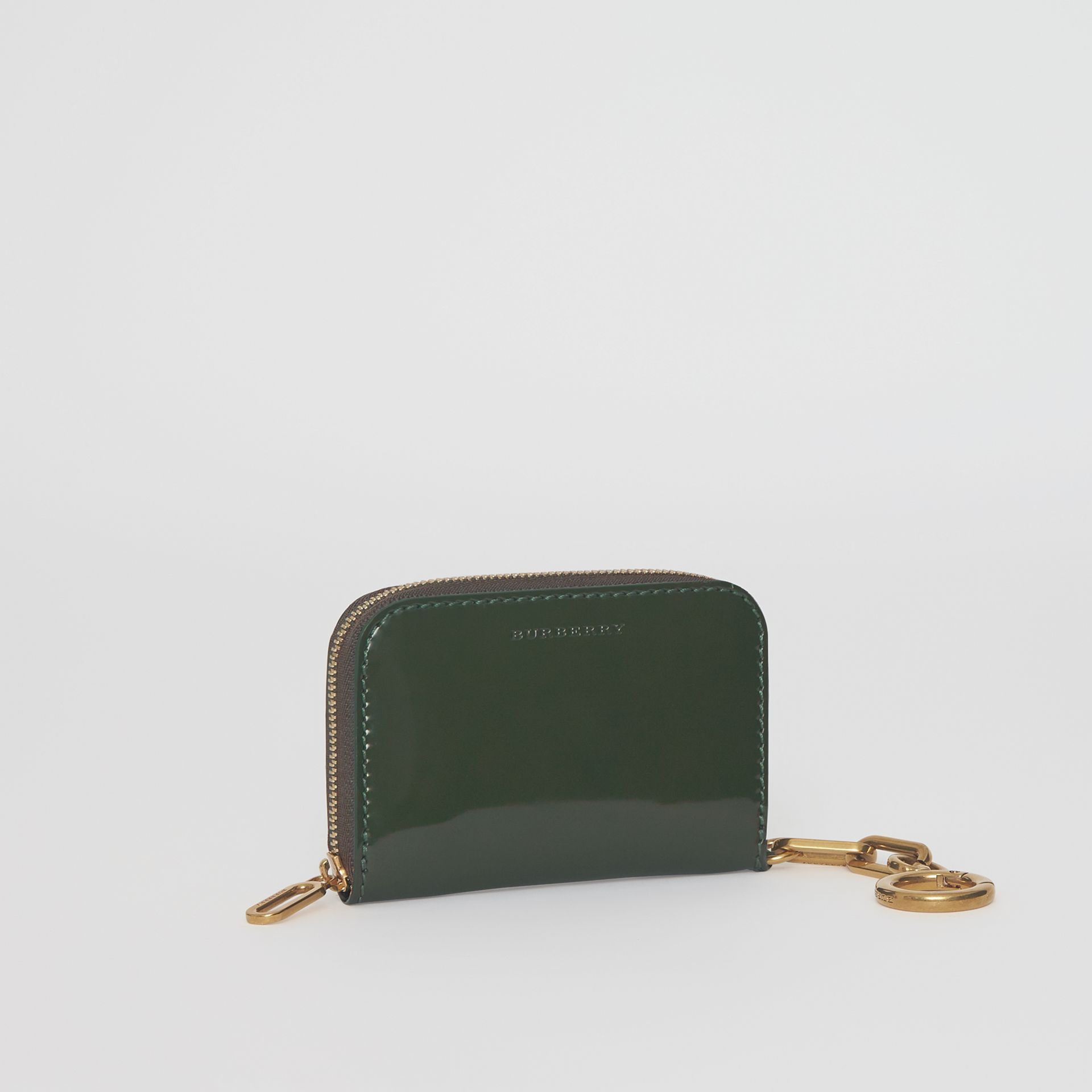 Link Detail Patent Leather Ziparound Wallet in Dark Forest Green - Women | Burberry - gallery image 4