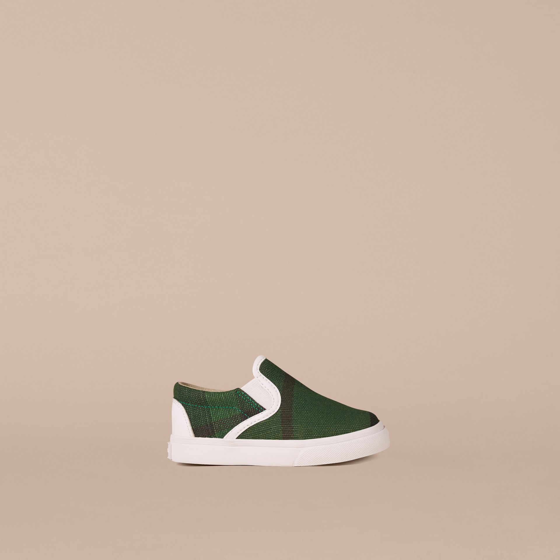 Bright jade green Canvas Check Slip-on Trainers - gallery image 1