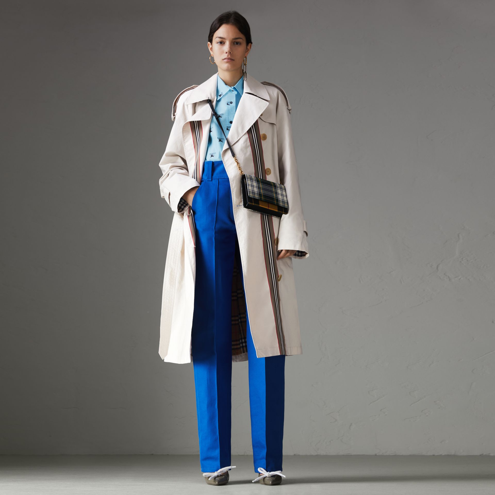 Striped Ribbon Cotton Gabardine Trench Coat in Stone - Women | Burberry United Kingdom - gallery image 0