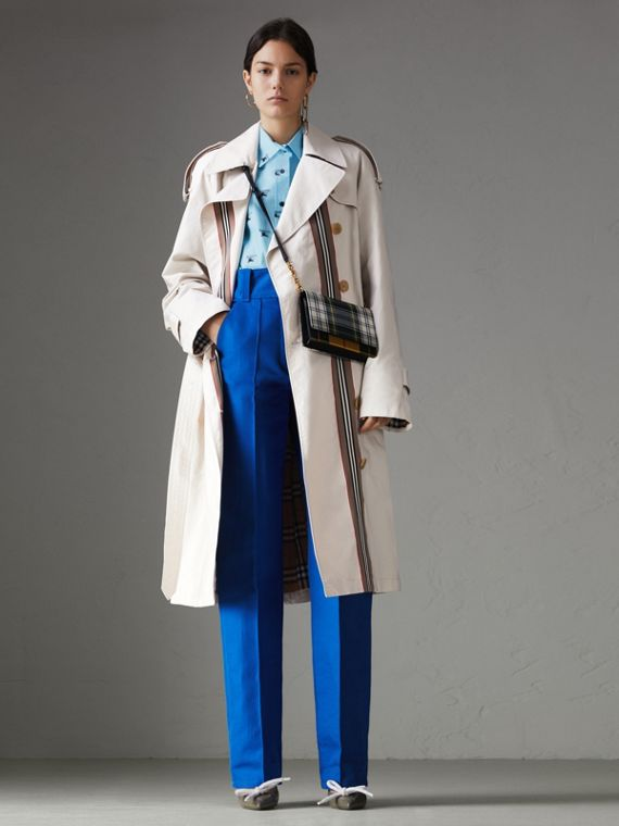 Striped Ribbon Cotton Gabardine Trench Coat in Stone