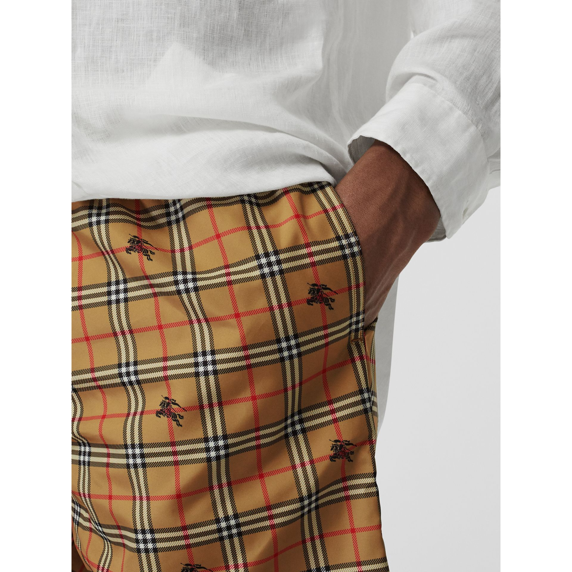 Equestrian Knight Check Drawcord Swim Shorts in Camel - Men | Burberry Australia - gallery image 1