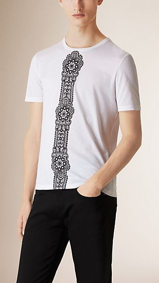 Lace Print Cotton T-shirt