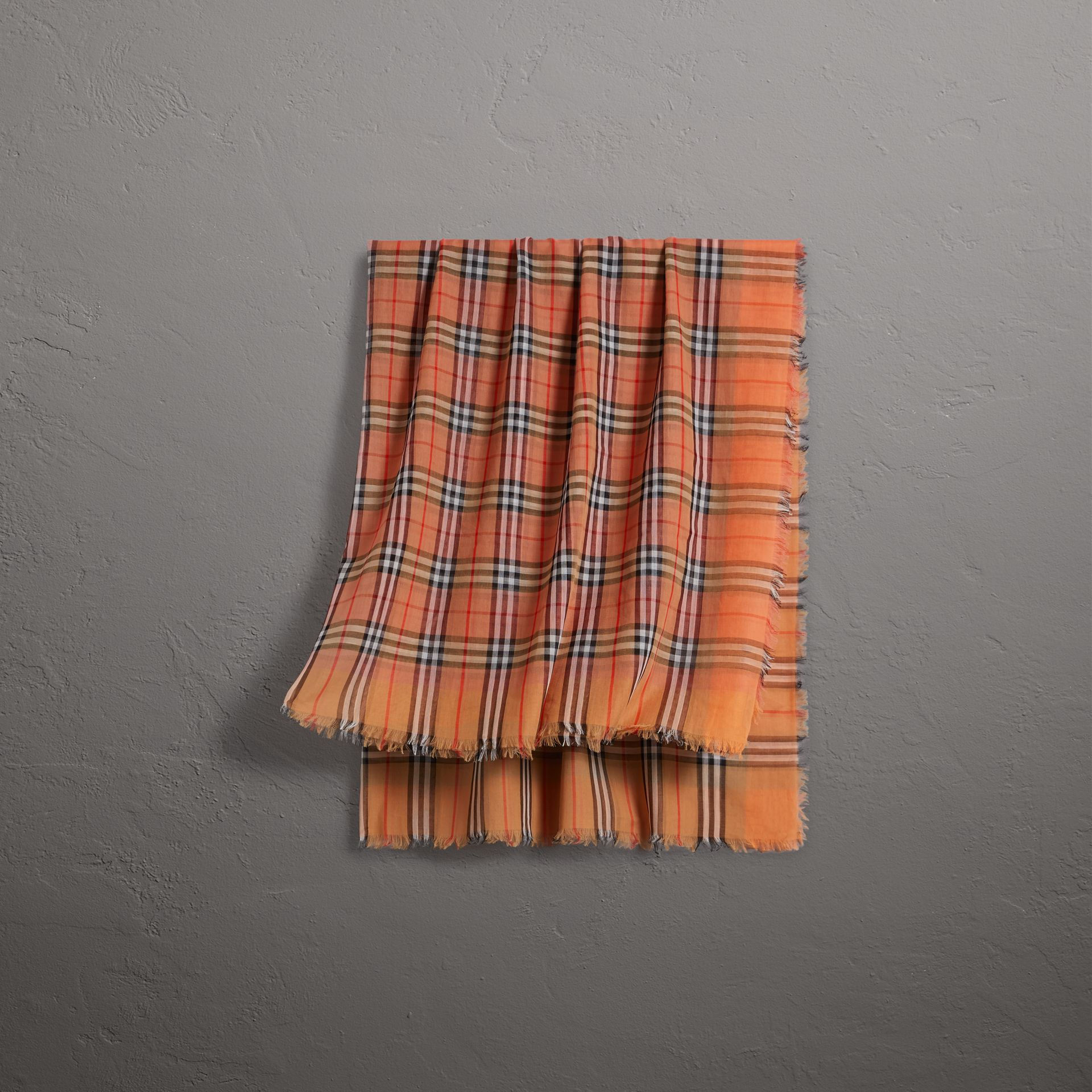 Two-tone Vintage Check Cotton Square Scarf in Coral Rose | Burberry - gallery image 0