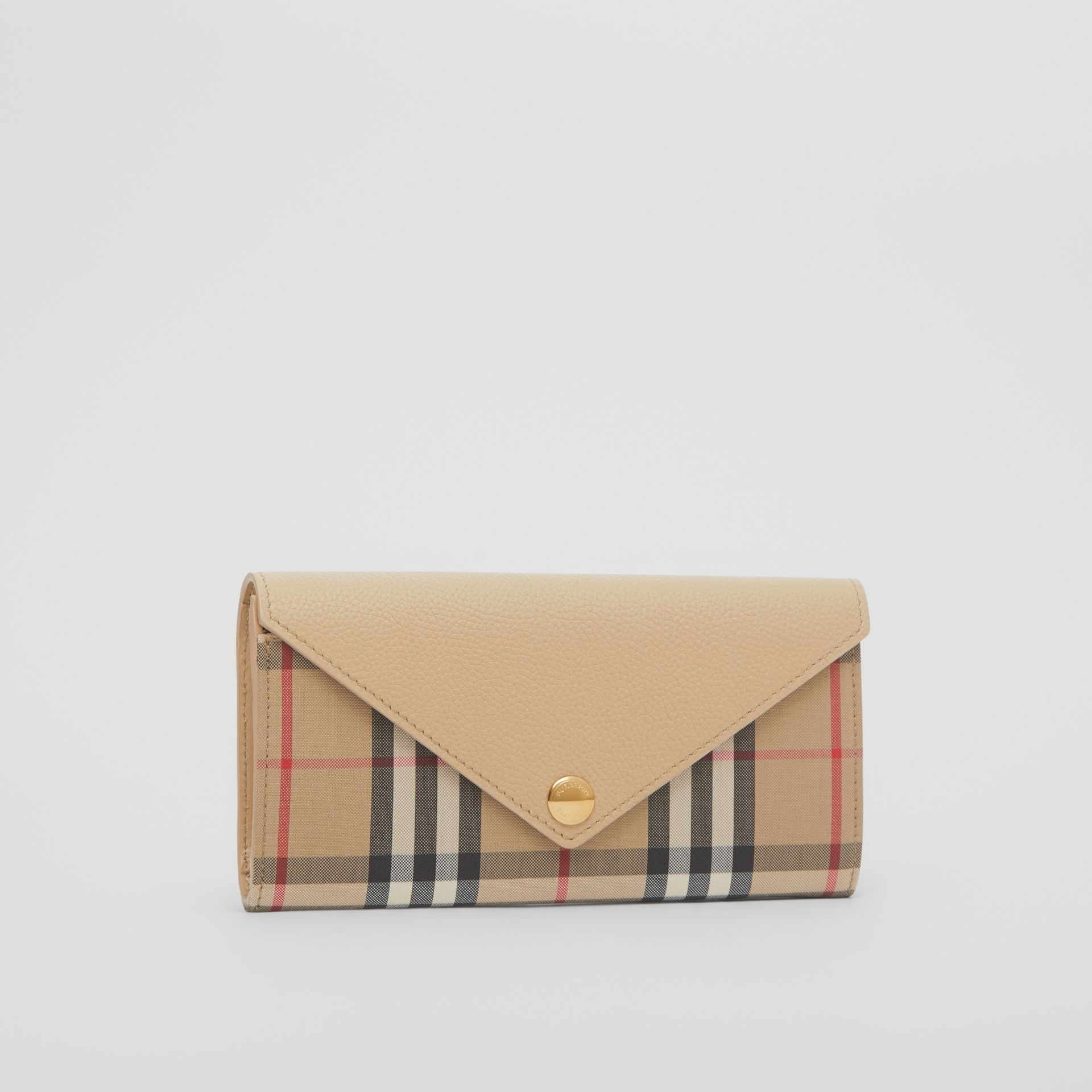 Vintage Check and Leather Continental Wallet in Light Beige - Women | Burberry - gallery image 4