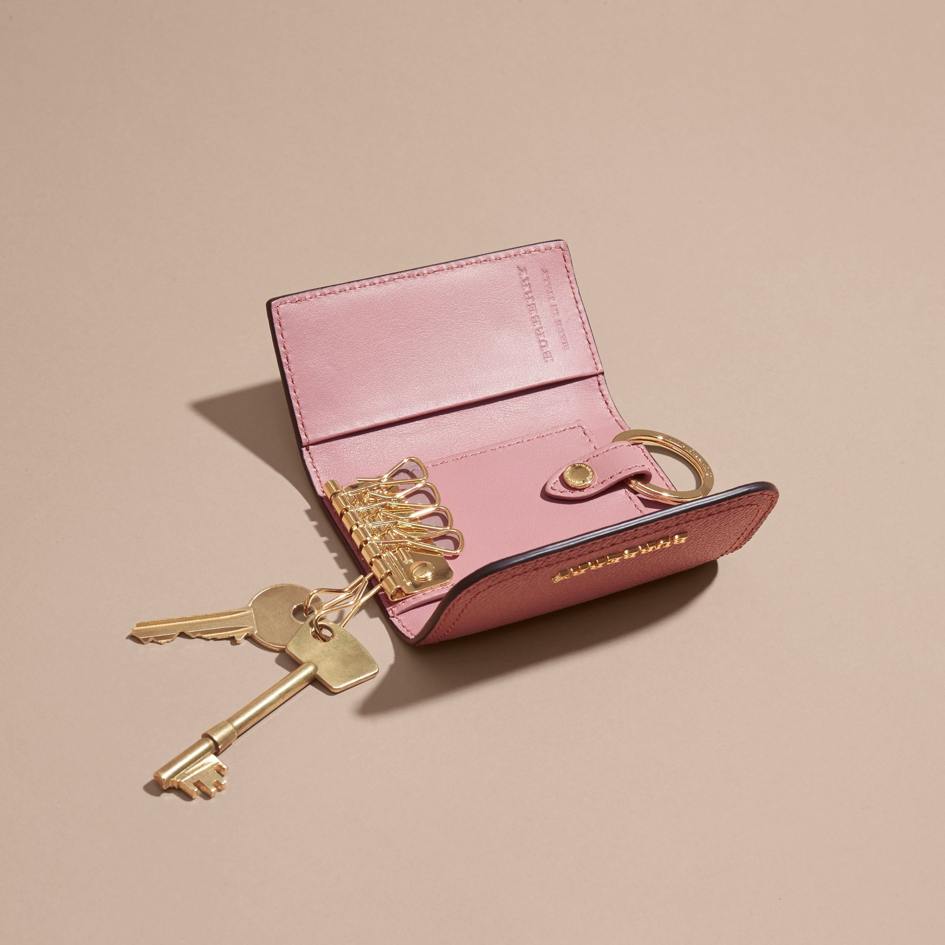 Grainy Leather Key Holder in Dusty Pink - Women | Burberry - gallery image 5