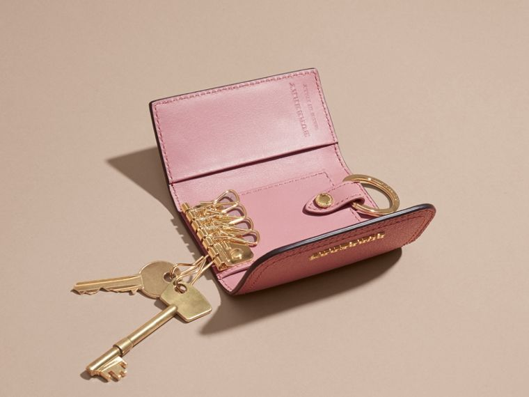 Grainy Leather Key Holder in Dusty Pink - Women | Burberry United States - cell image 4