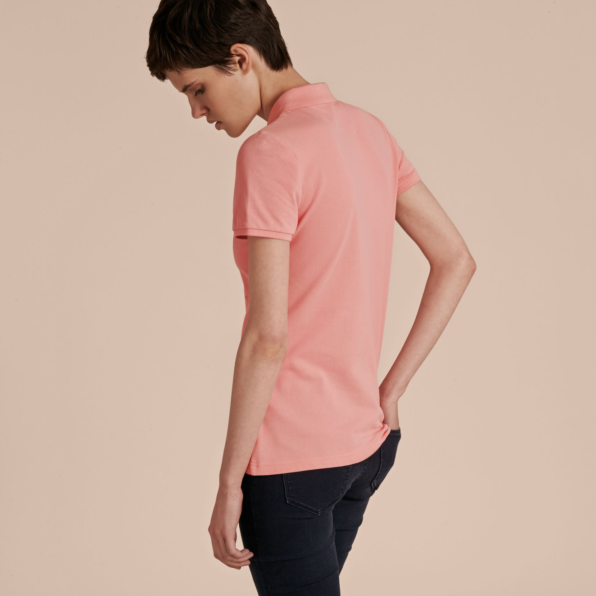 Cotton Piqué Polo Shirt in Carnation Pink - gallery image 3