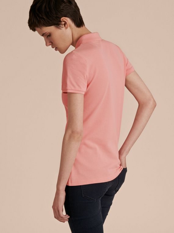 Cotton Piqué Polo Shirt in Carnation Pink - cell image 2