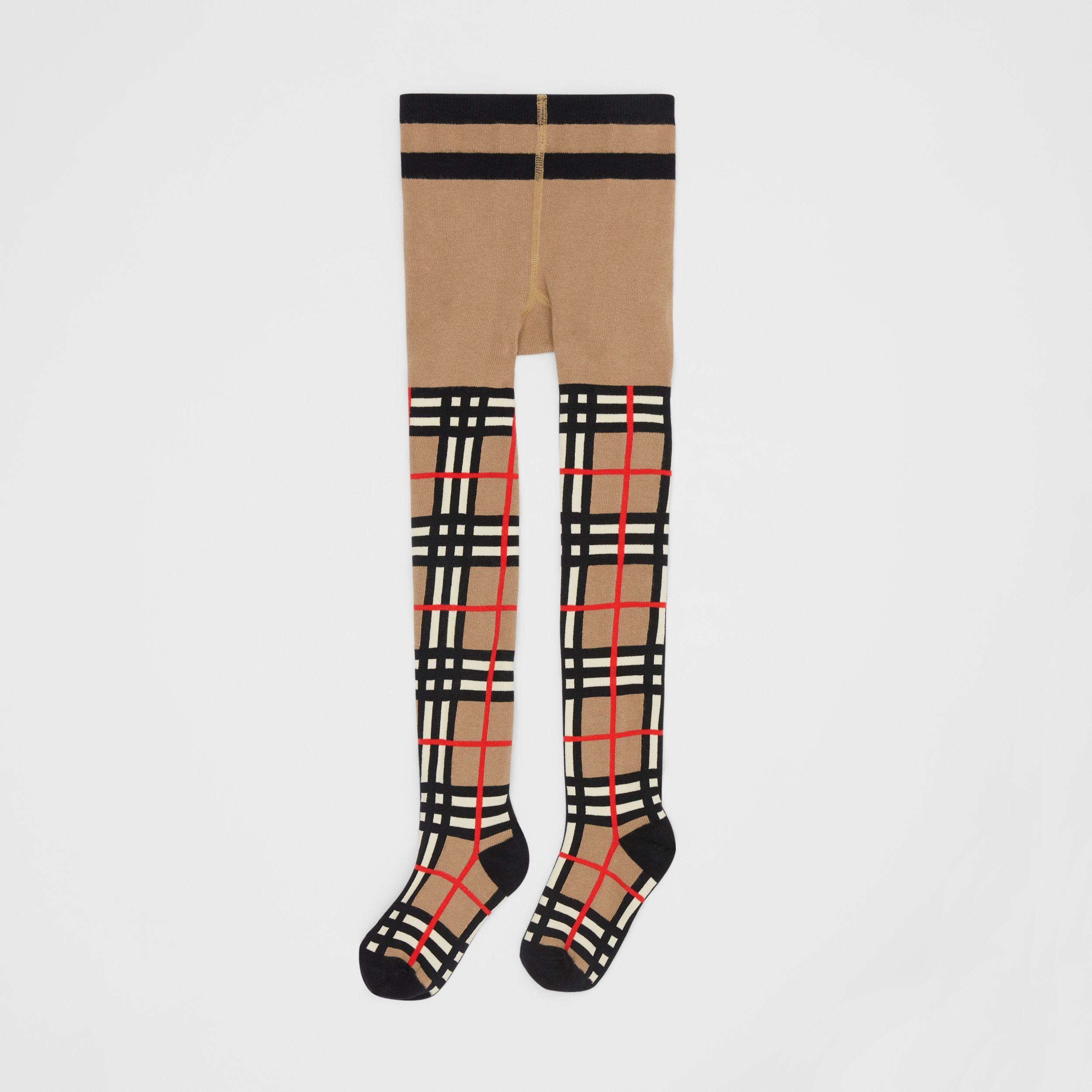Collants en coton mélangé check en intarsia (Beige D'archive) - Enfant | Burberry - 1