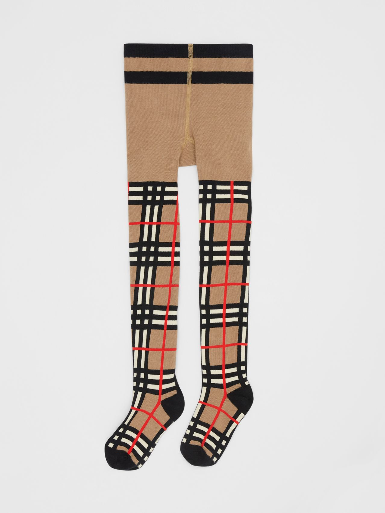 Check Intarsia Cotton Blend Tights in Archive Beige