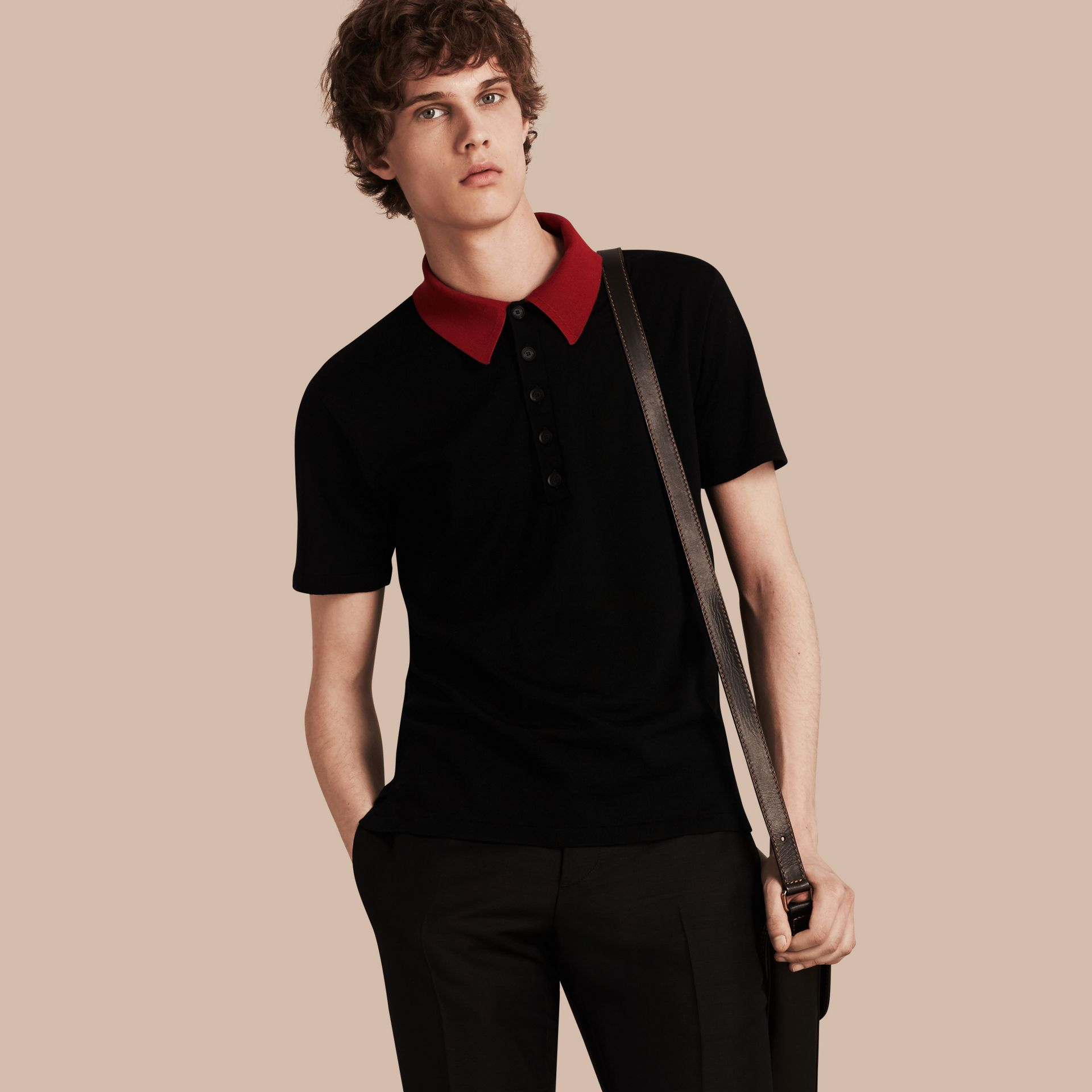 Black/cranberry red Contrast Collar Wool Blend Polo Shirt - gallery image 1