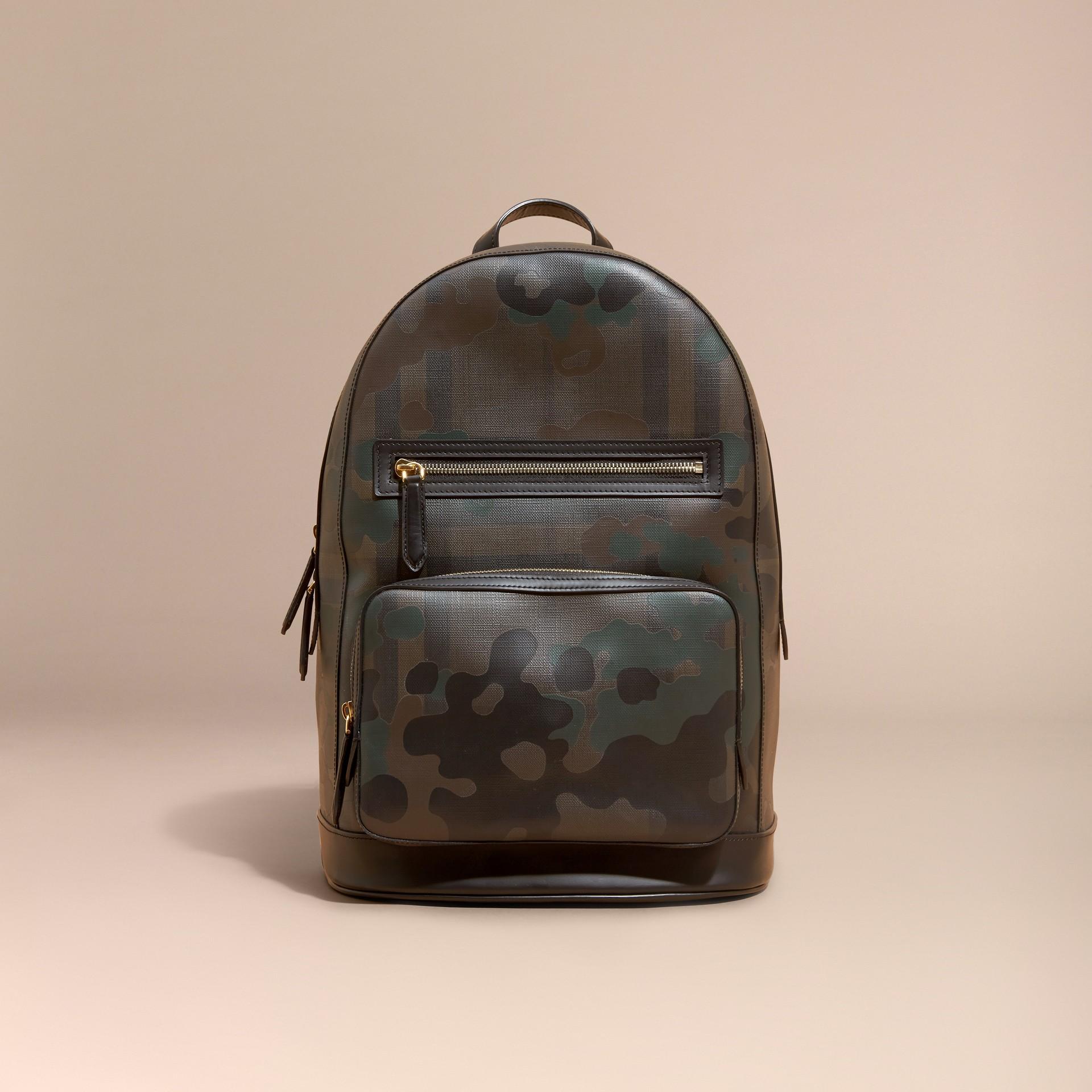 Schokoladenbraun Rucksack in London Check mit Camouflage-Druck - Galerie-Bild 8