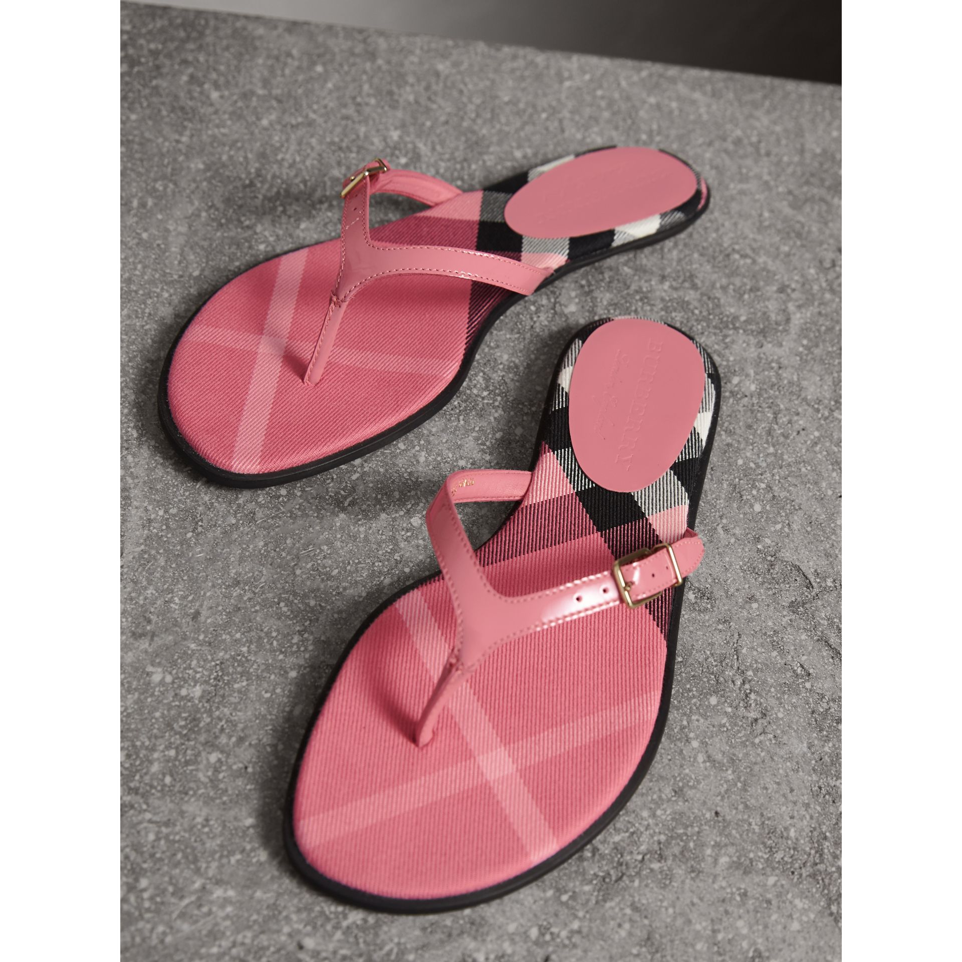 House Check and Patent Leather Sandals in Berry Pink - Women | Burberry - gallery image 4