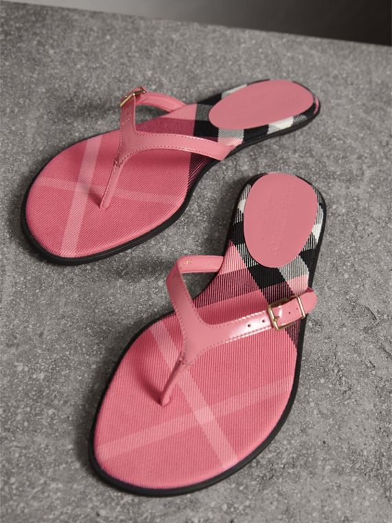 House Check and Patent Leather Sandals in Berry Pink - Women | Burberry - cell image 3