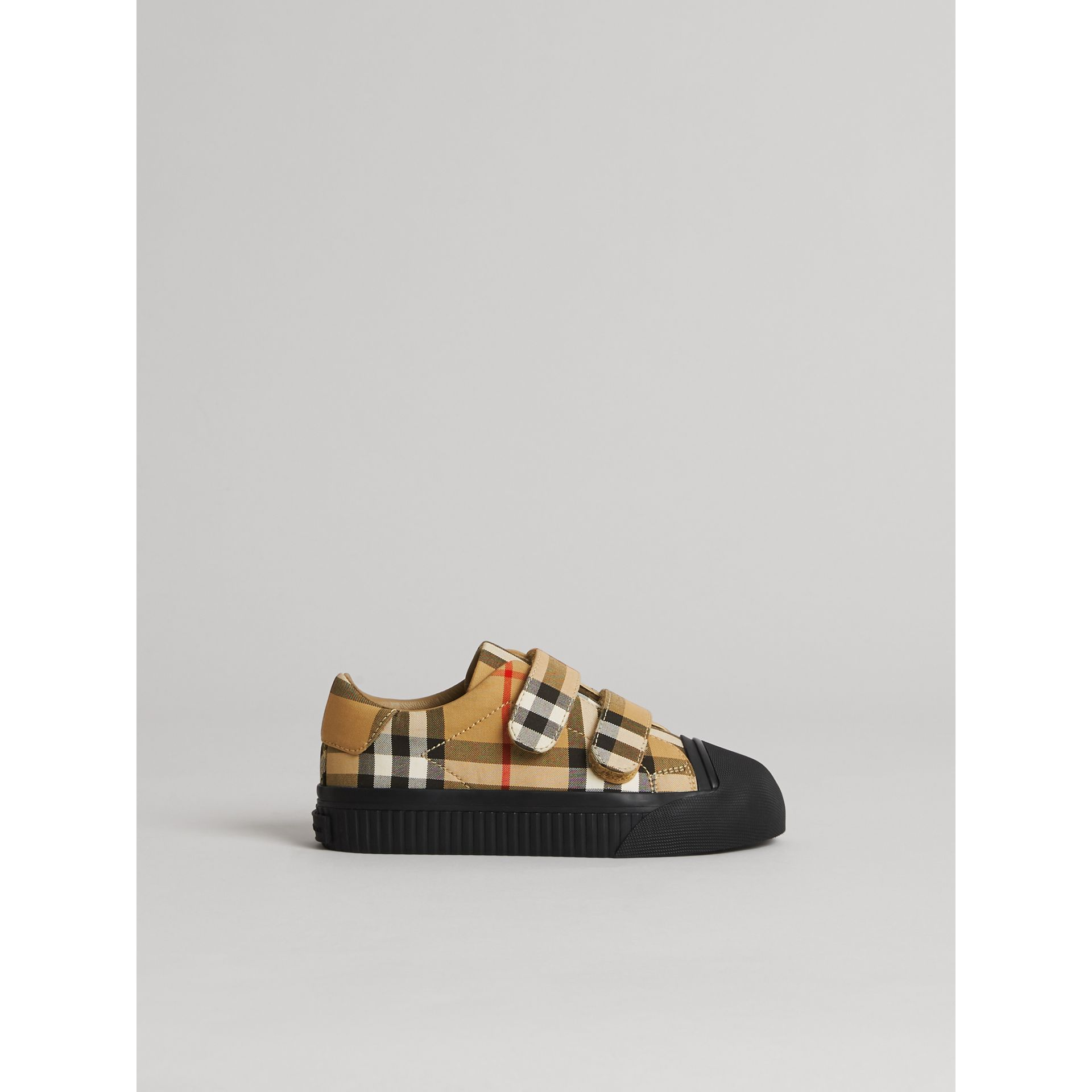 Vintage Check and Leather Sneakers in Antique Yellow/black | Burberry - gallery image 3