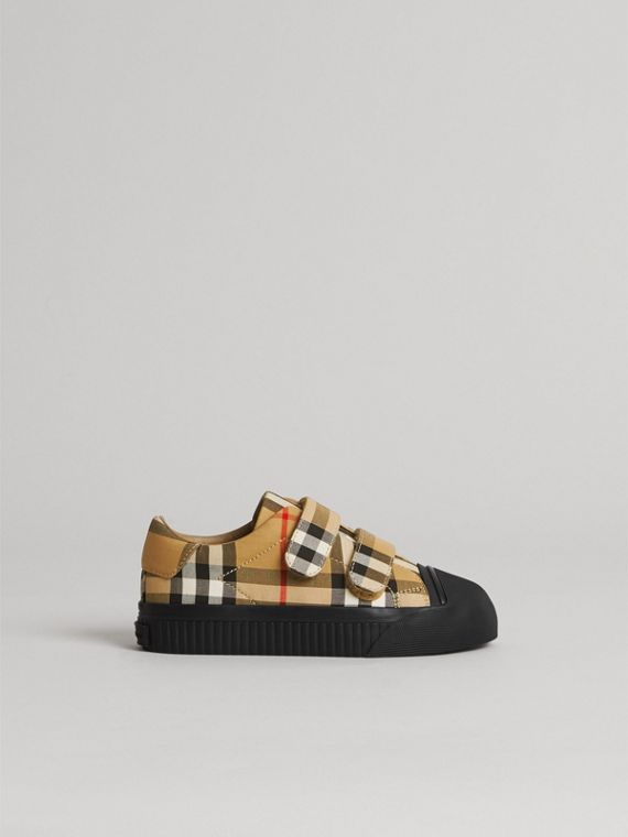 Vintage Check and Leather Sneakers in Antique Yellow/black | Burberry Australia - cell image 3