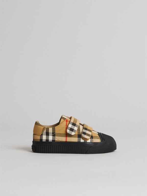 Vintage Check and Leather Sneakers in Antique Yellow/black | Burberry United States - cell image 3