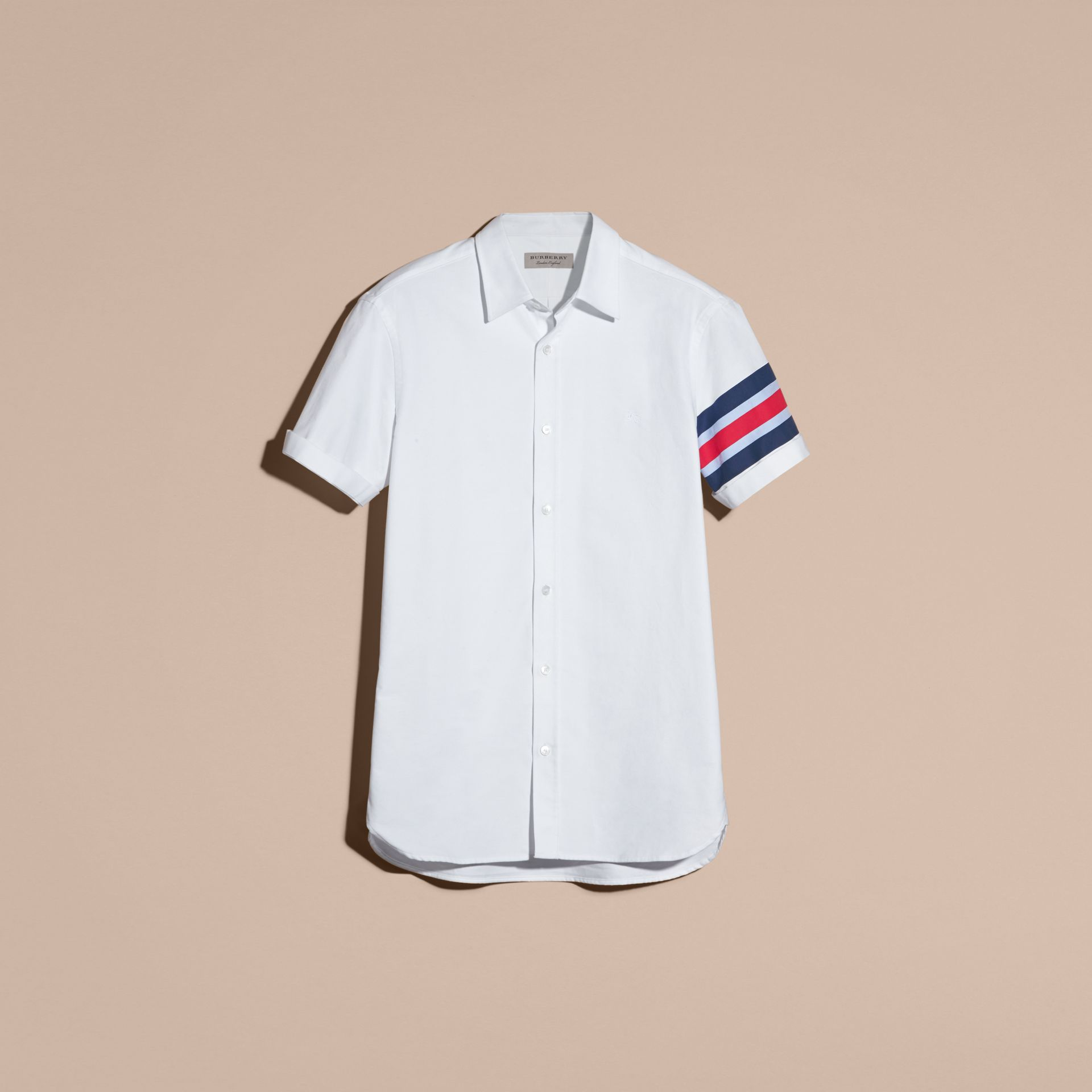 White Short-sleeved Oxford Cotton Shirt with Regimental Detail - gallery image 4
