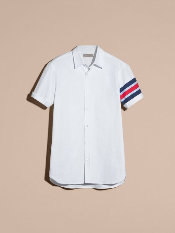 White Short-sleeved Oxford Cotton Shirt with Regimental Detail - cell image 3