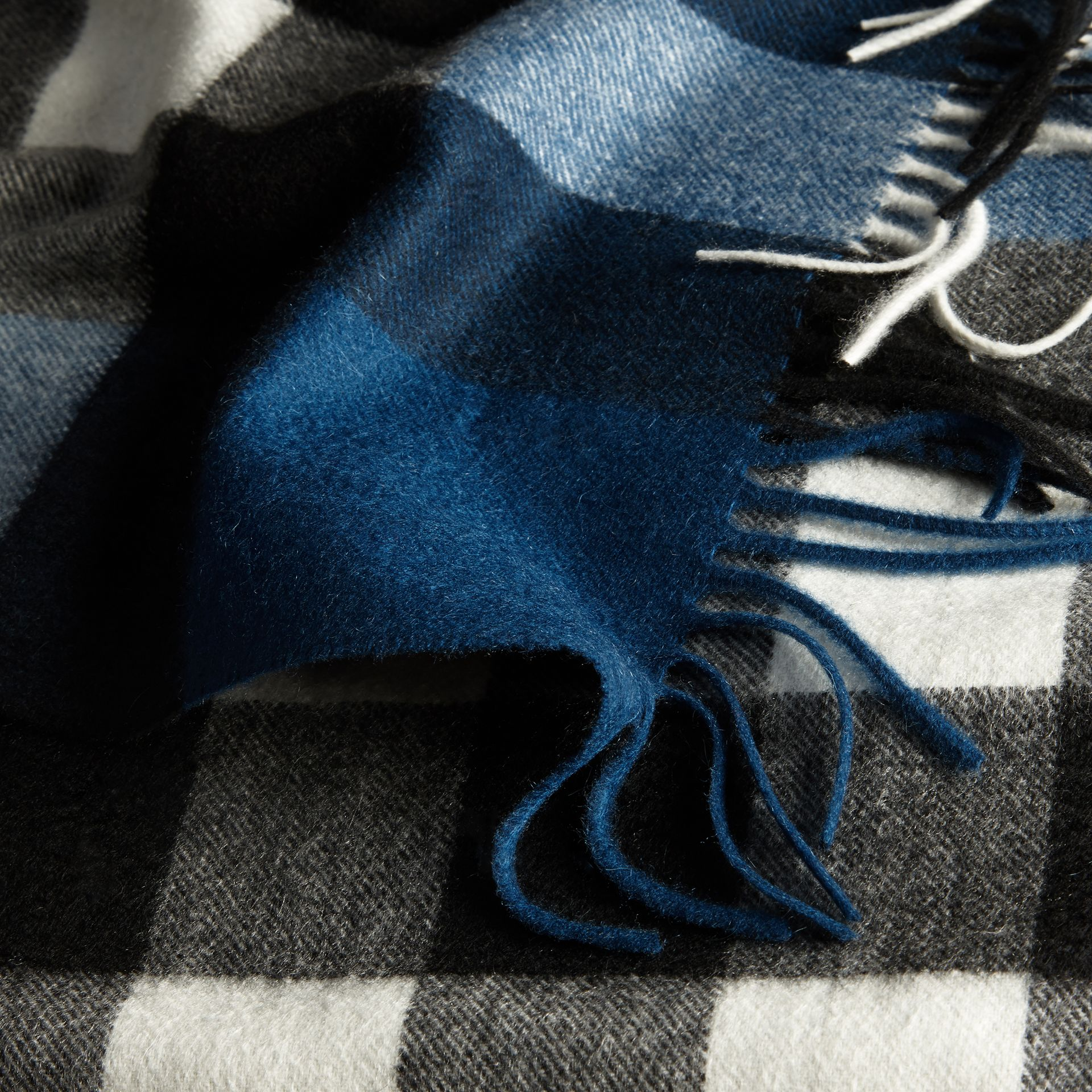 The Large Classic Cashmere Scarf in Check Marine Blue - gallery image 5