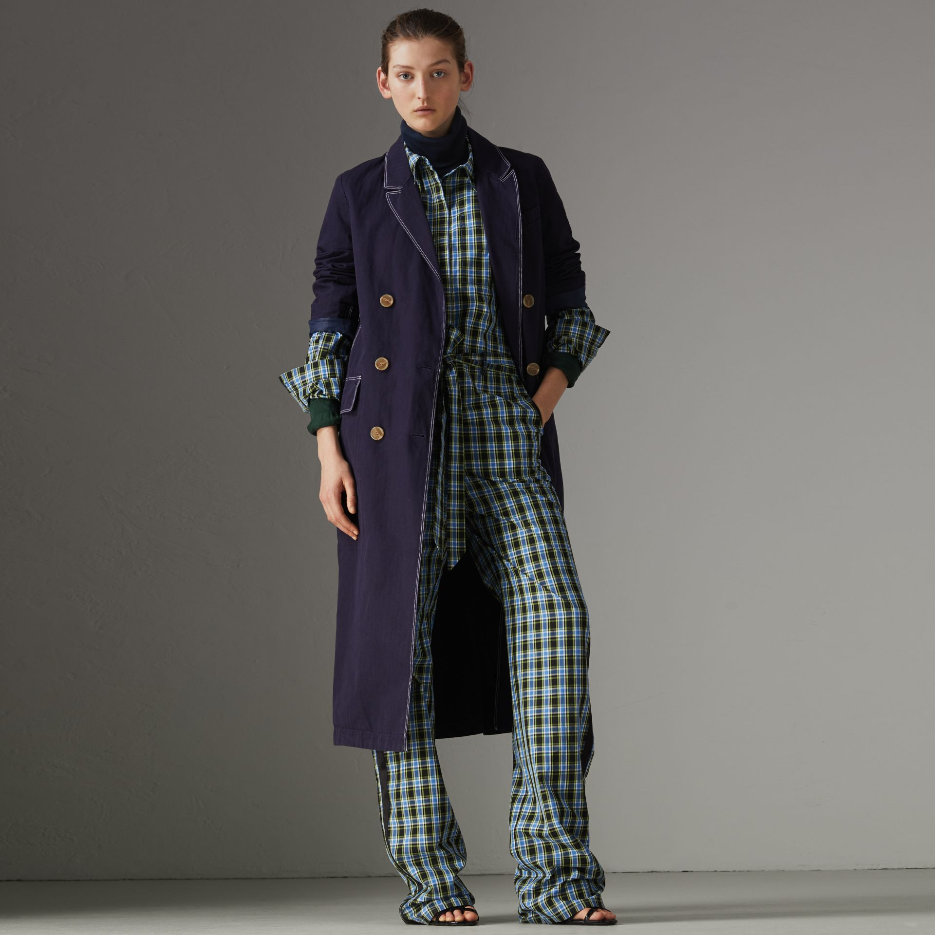 Topstitched Cotton Linen Double-breasted Coat in Deep Indigo - Women | Burberry Singapore - gallery image 0