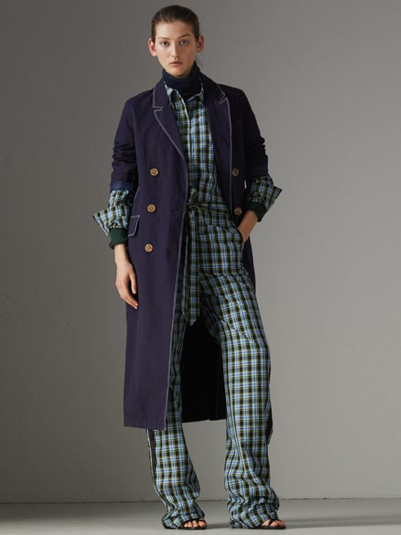 Topstitched Cotton Linen Double-breasted Coat in Deep Indigo