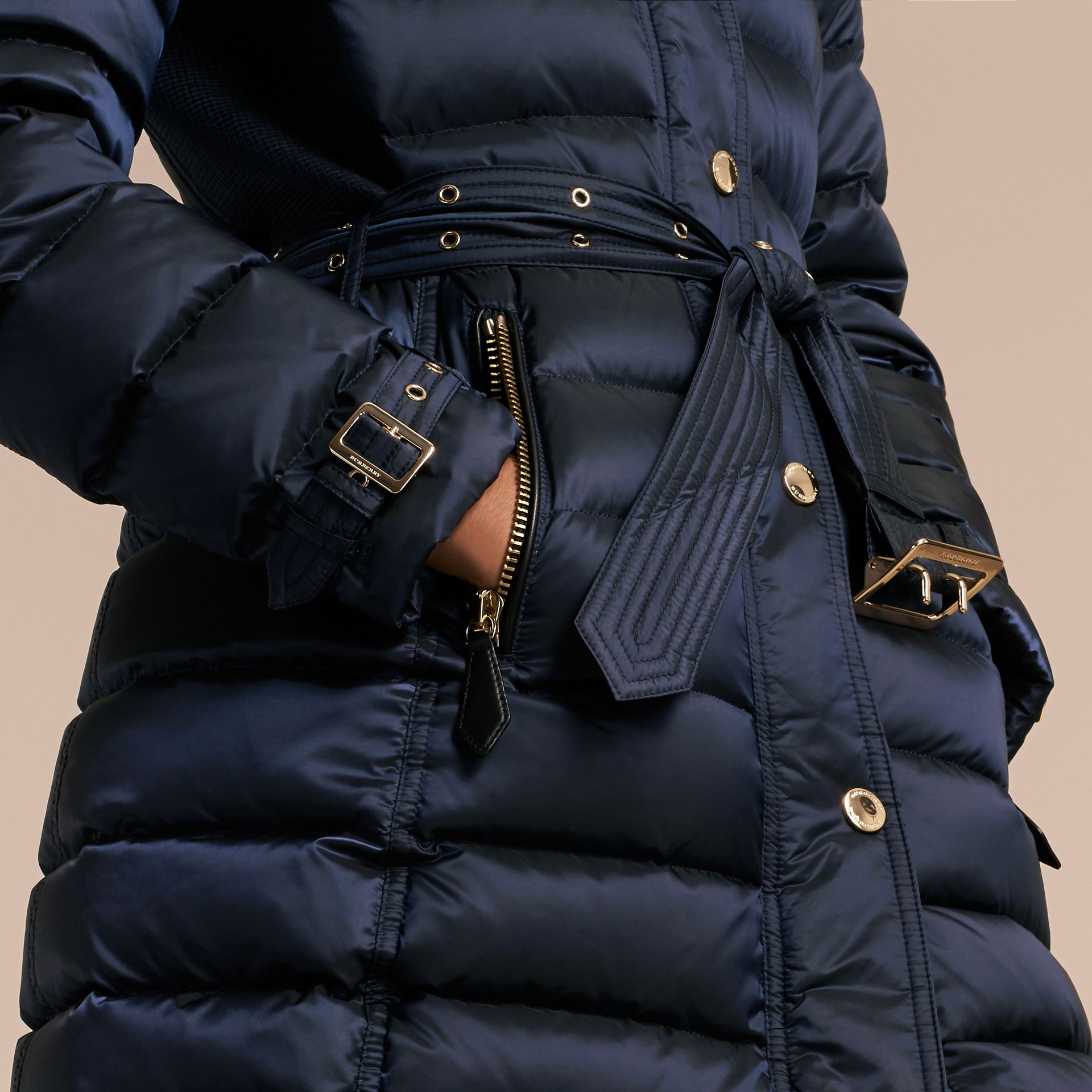 Down-filled Coat with Fox Fur Trim Hood in Navy - Women | Burberry - gallery image 5