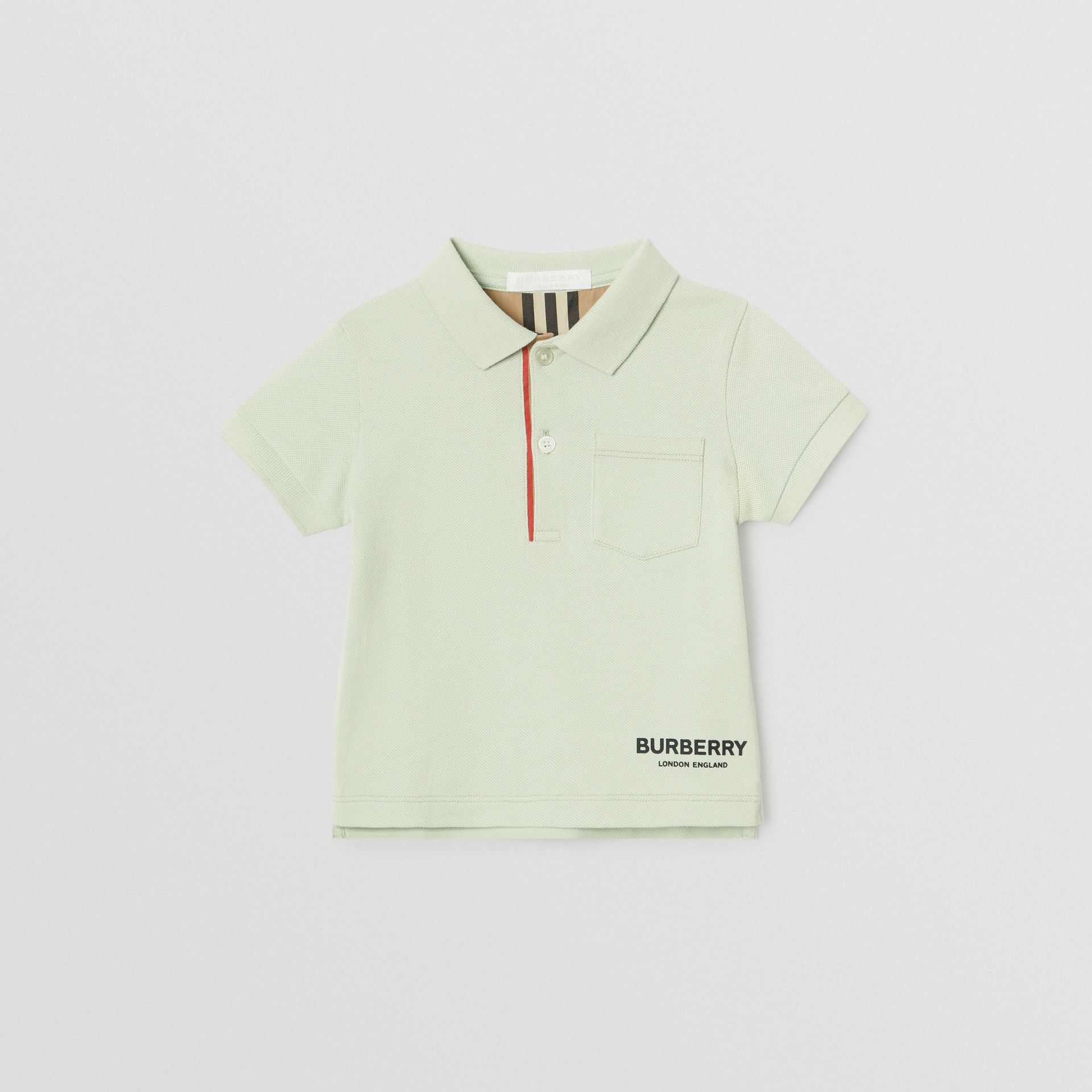 Icon Stripe Placket Cotton Piqué Polo Shirt in Pale Mint - Children | Burberry - gallery image 0
