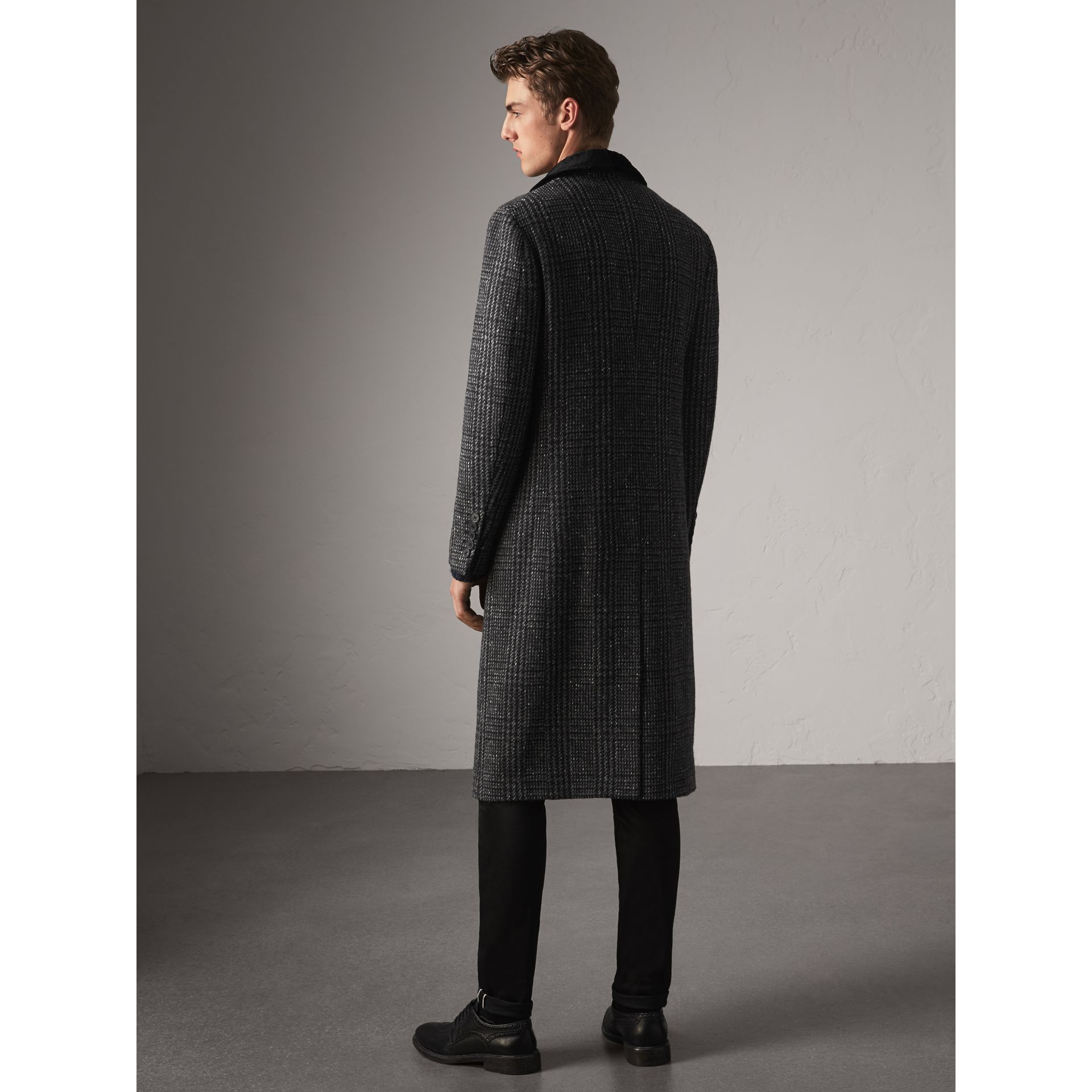 Detachable Mink Collar Check Wool Tailored Coat in Charcoal - Men | Burberry - gallery image 3