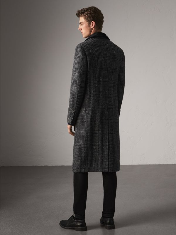 Detachable Mink Collar Check Wool Tailored Coat in Charcoal - Men | Burberry - cell image 2