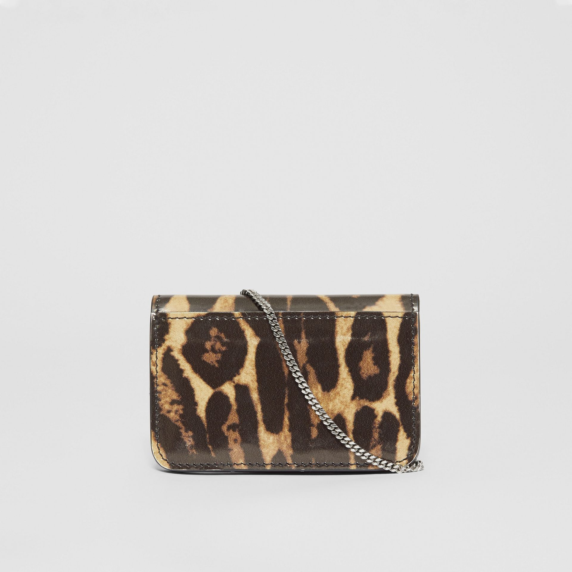 Leopard Print Leather Card Case with Chain Strap in Dark Mustard - Women | Burberry United States - gallery image 7