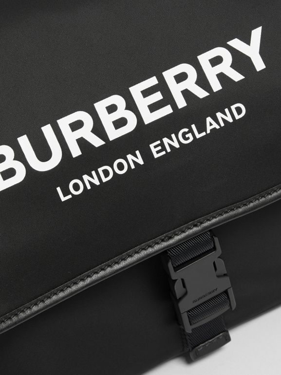 Logo Print Baby Changing Bag in Black - Children | Burberry United Kingdom - cell image 1