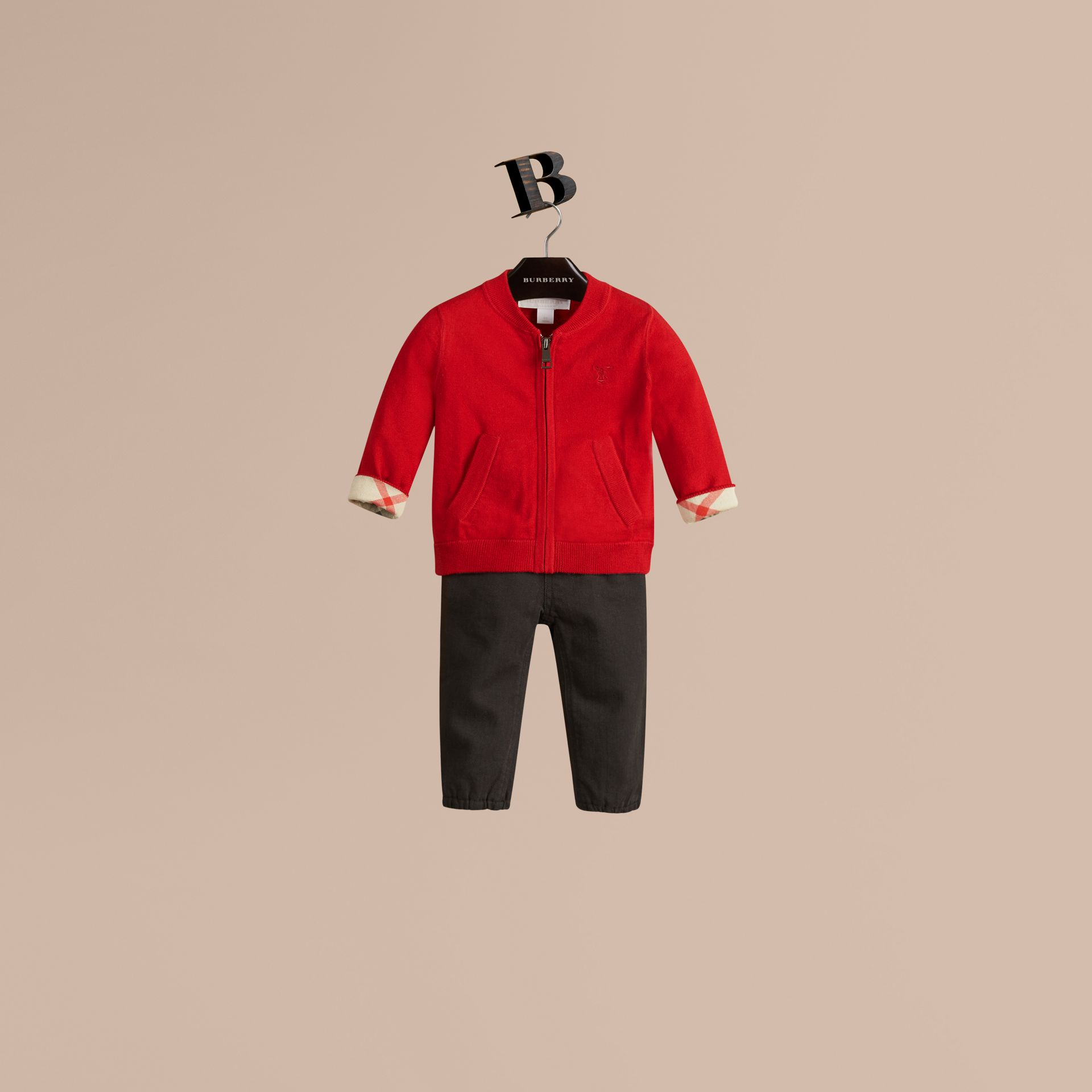 Check Detail Cotton Cardigan in Military Red - Boy | Burberry Canada - gallery image 1