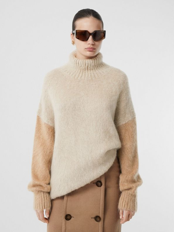 Wool Mohair Blend Oversized Turtleneck Sweater in Light Fawn
