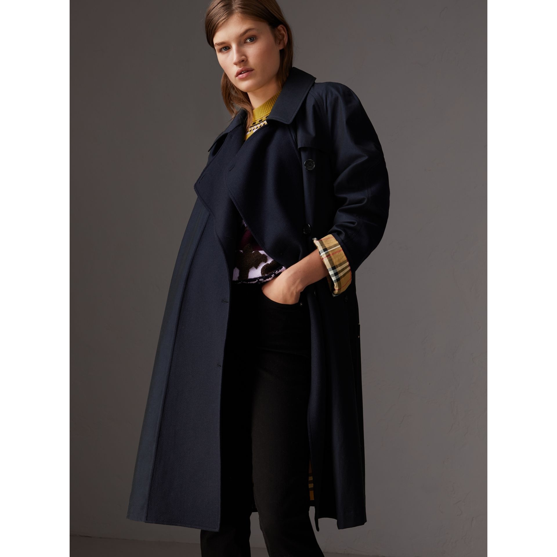 Tropical Gabardine Asymmetric Trench Coat in Blue Carbon - Women | Burberry - gallery image 6