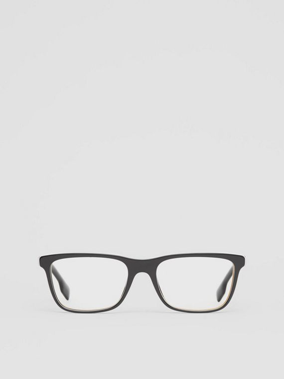 Icon Stripe Detail Rectangular Optical Frames in Black
