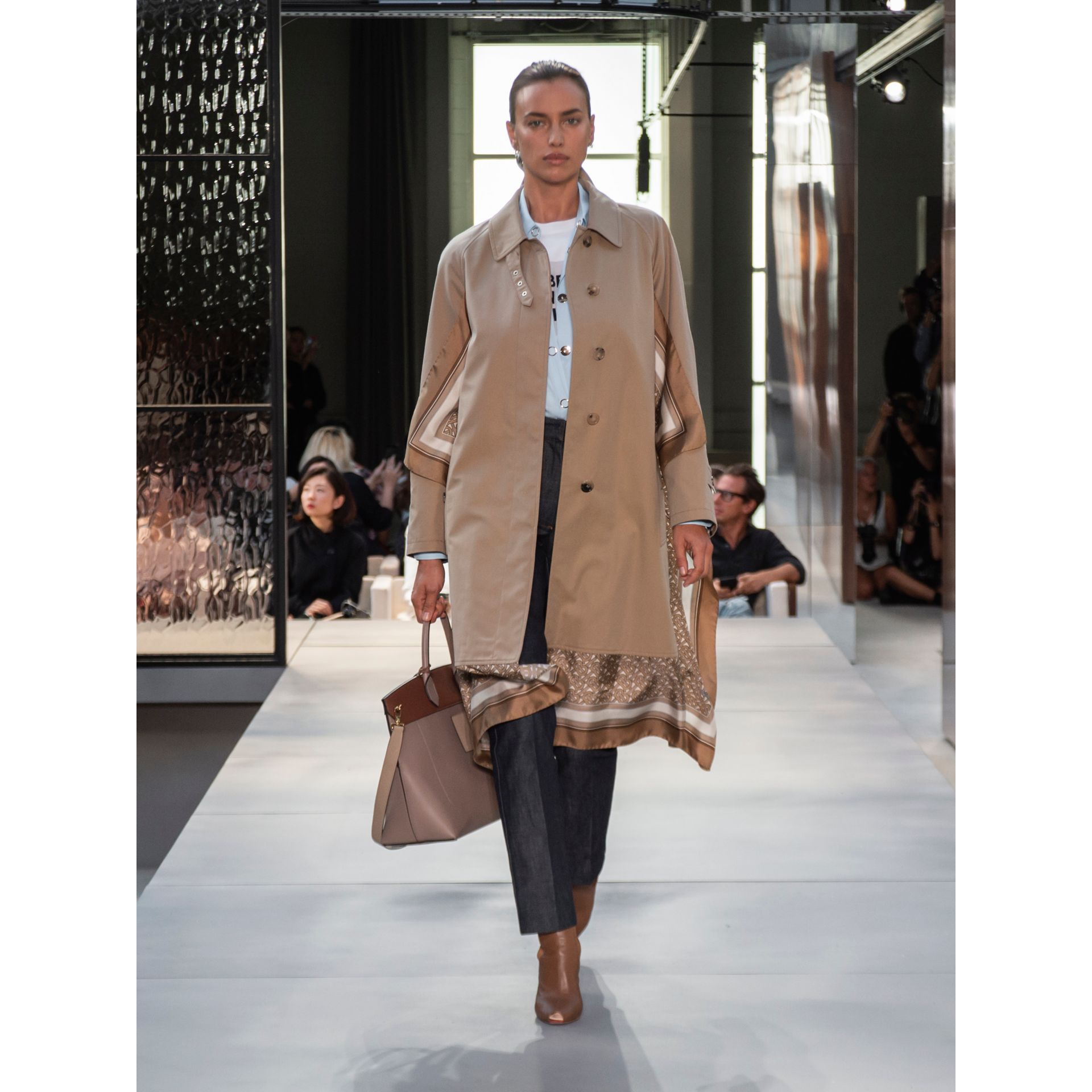 Monogram Print Silk Panel Cotton Car Coat in Pale Honey - Women | Burberry - gallery image 8
