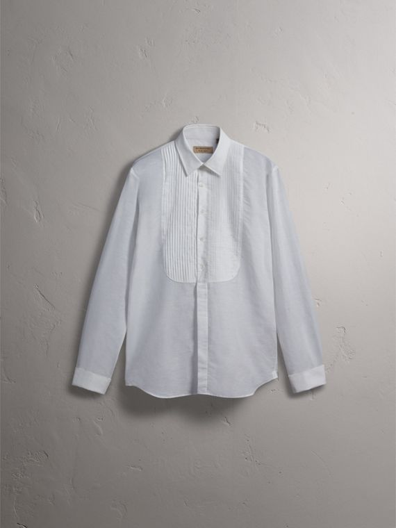 Modern Fit Linen Cotton Dress Shirt in White - Men | Burberry - cell image 3