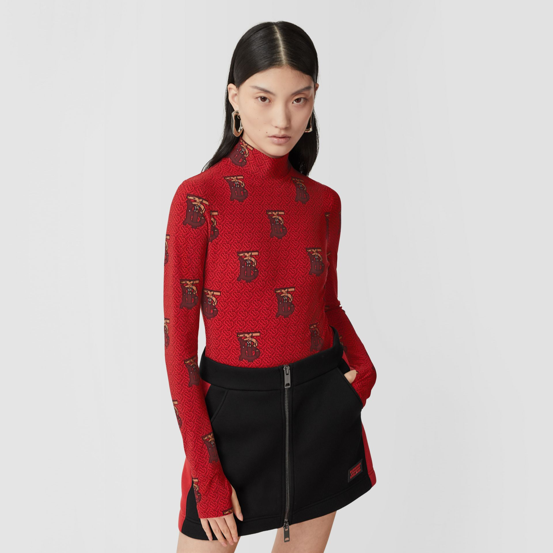 Monogram Motif Stretch Nylon Bodysuit in Bright Red - Women | Burberry United Kingdom - gallery image 6