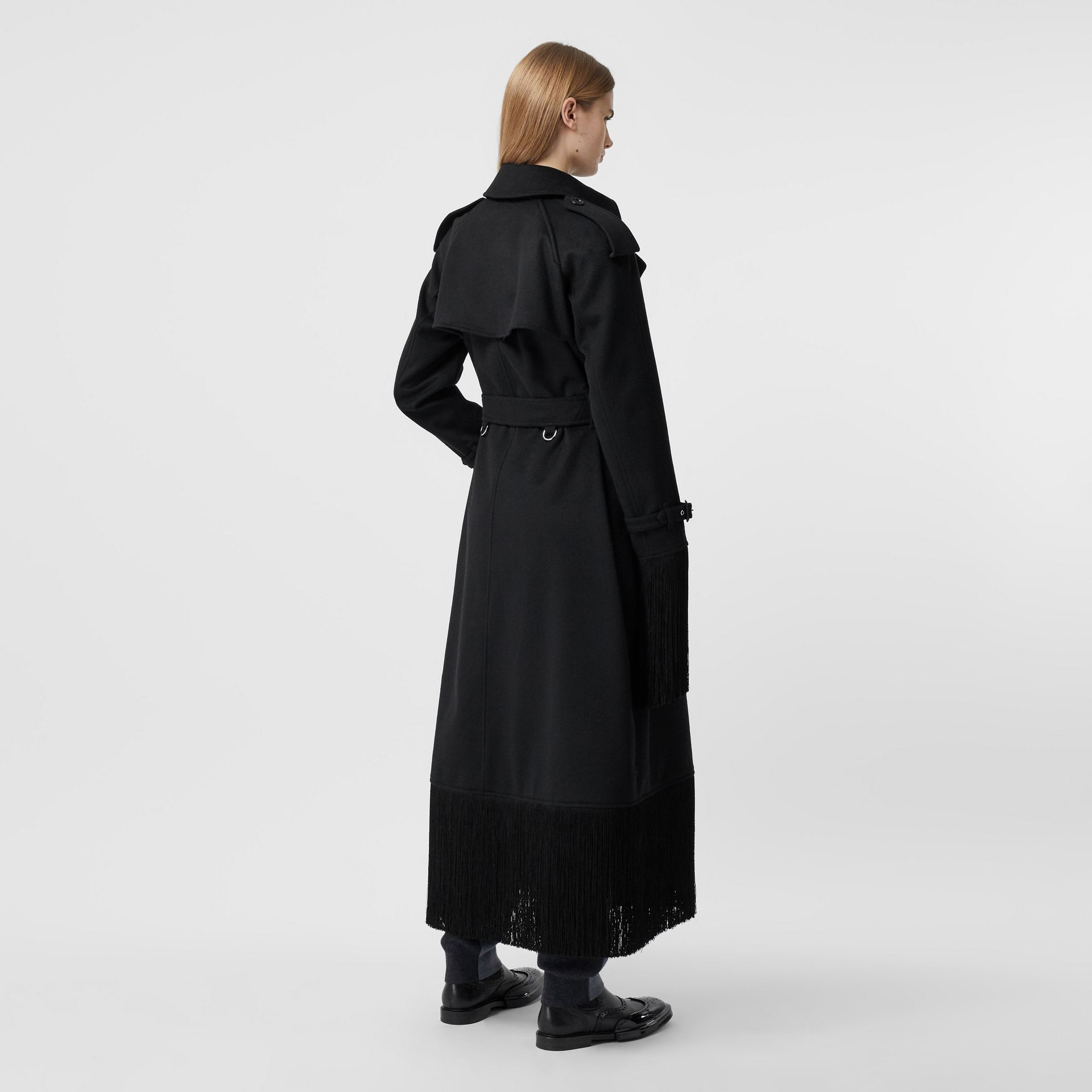 Fringed Wool Cashmere Trench Coat in Black - Women | Burberry - gallery image 2