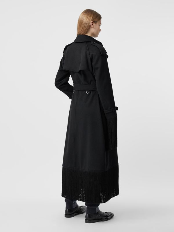 Fringed Wool Cashmere Trench Coat in Black - Women | Burberry Australia - cell image 2