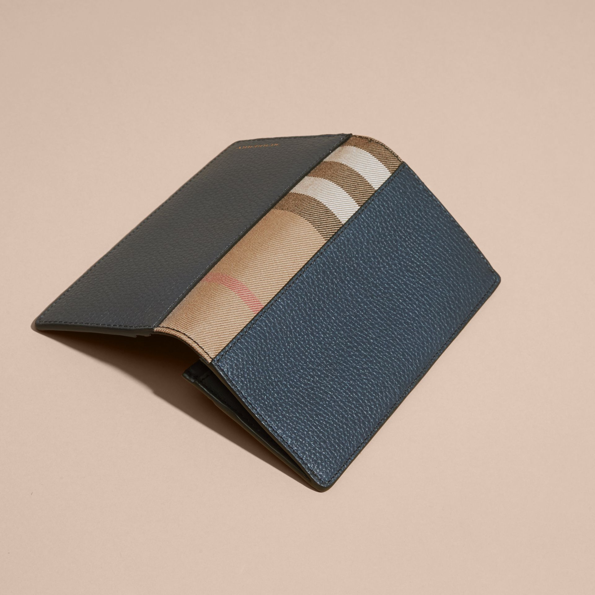 House Check and Grainy Leather Continental Wallet in Storm Blue | Burberry - gallery image 3