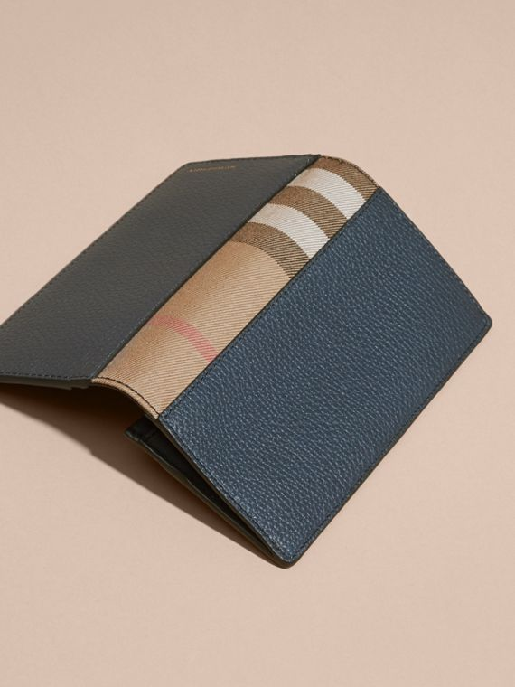 House Check and Grainy Leather Continental Wallet in Storm Blue | Burberry - cell image 2