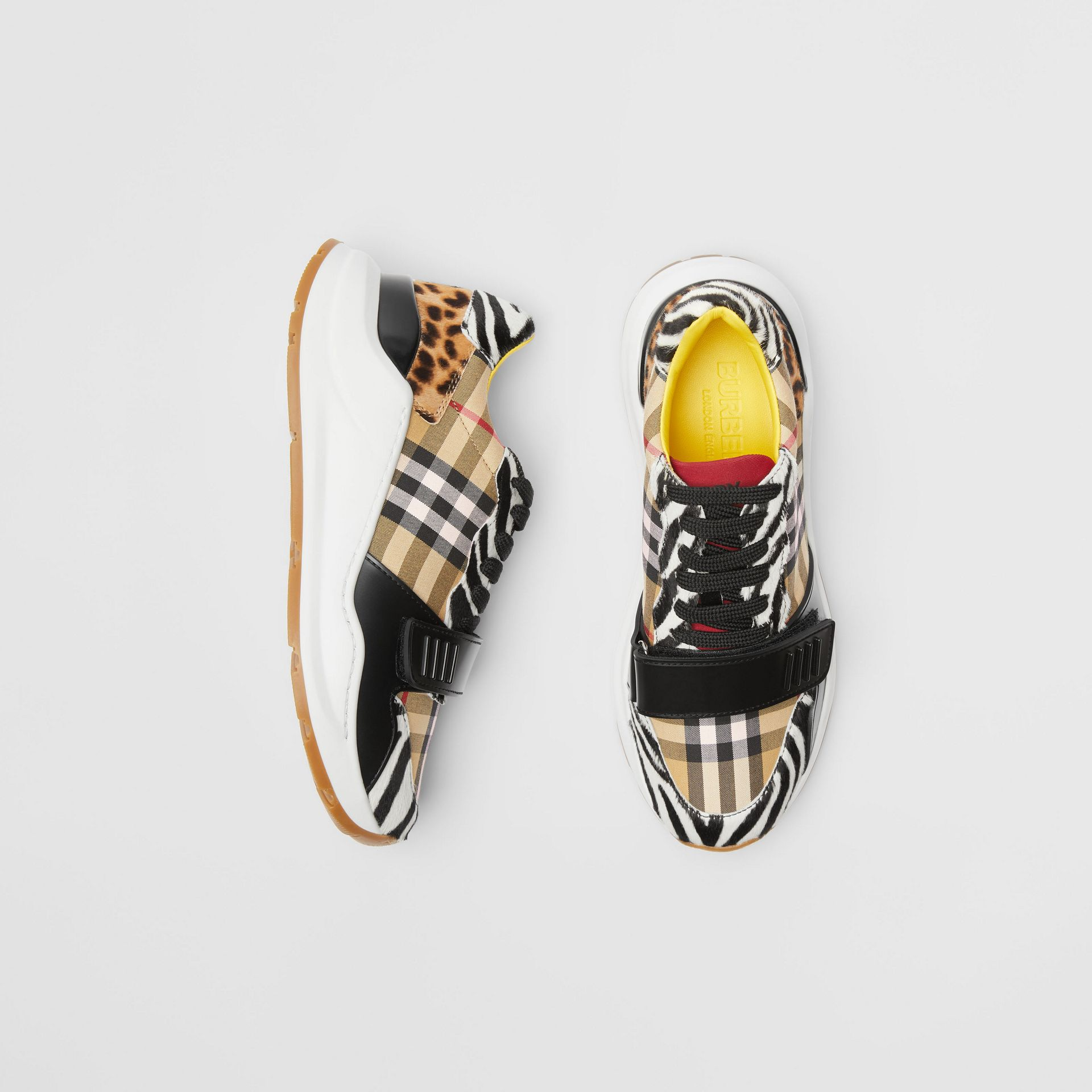 Animal Print and Vintage Check Sneakers in Antique Yellow - Women | Burberry Australia - gallery image 0