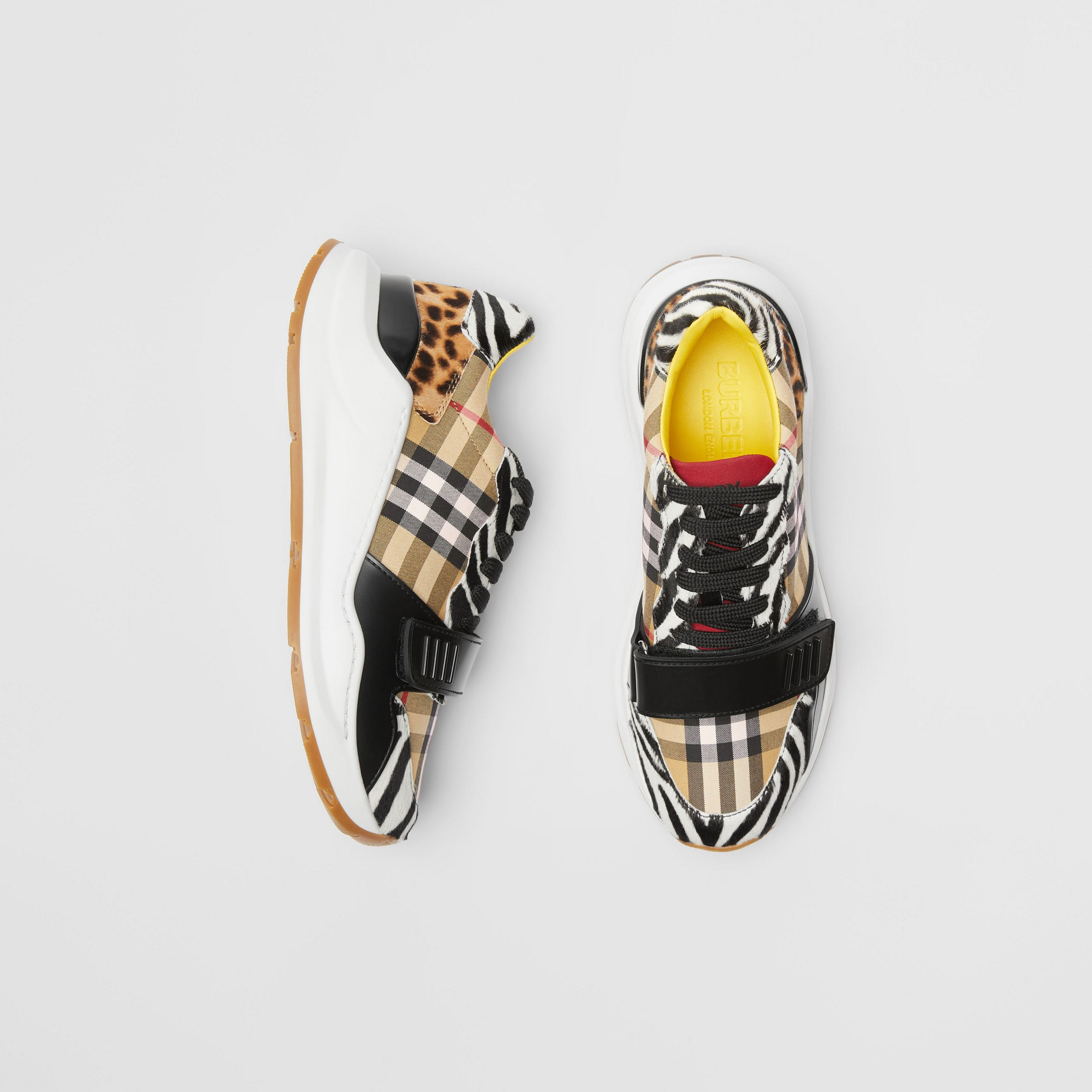 Animal Print and Vintage Check Sneakers in Antique Yellow - Women | Burberry - 1