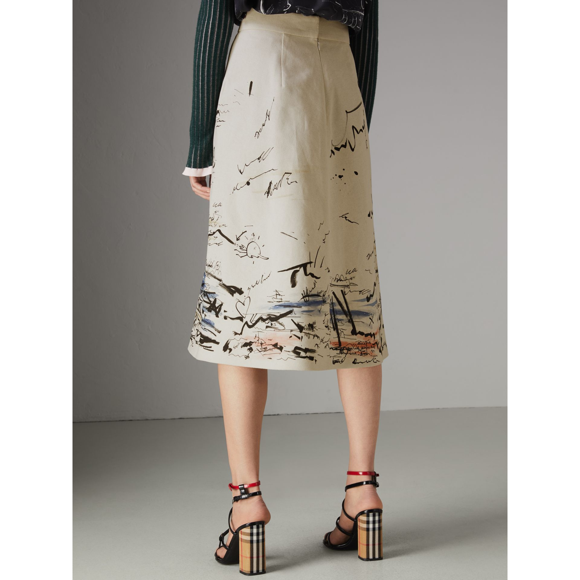Coastal Print Cotton Linen A-line Skirt in Natural White - Women | Burberry United Kingdom - gallery image 2