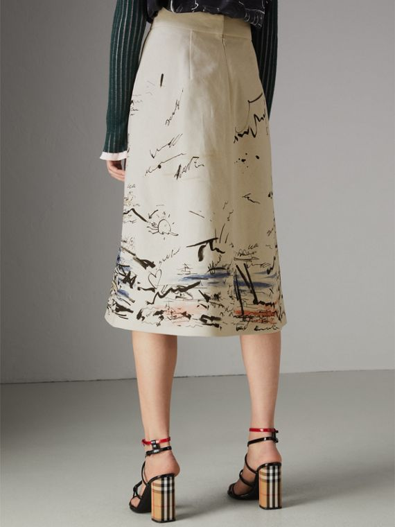 Coastal Print Cotton Linen A-line Skirt in Natural White - Women | Burberry - cell image 2