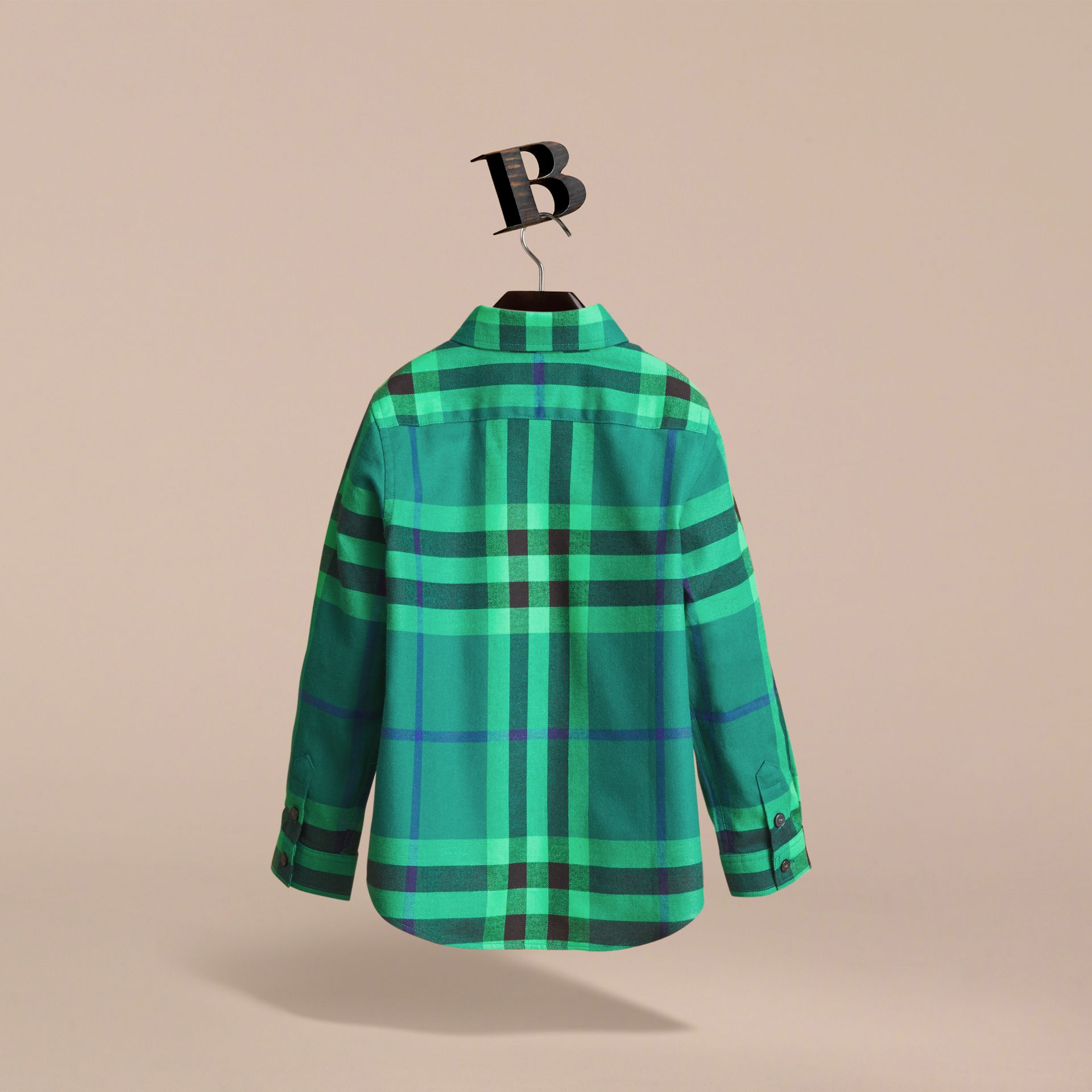 Check Cotton Flannel Button-Down Shirt in Pigment Green - Boy | Burberry - gallery image 3