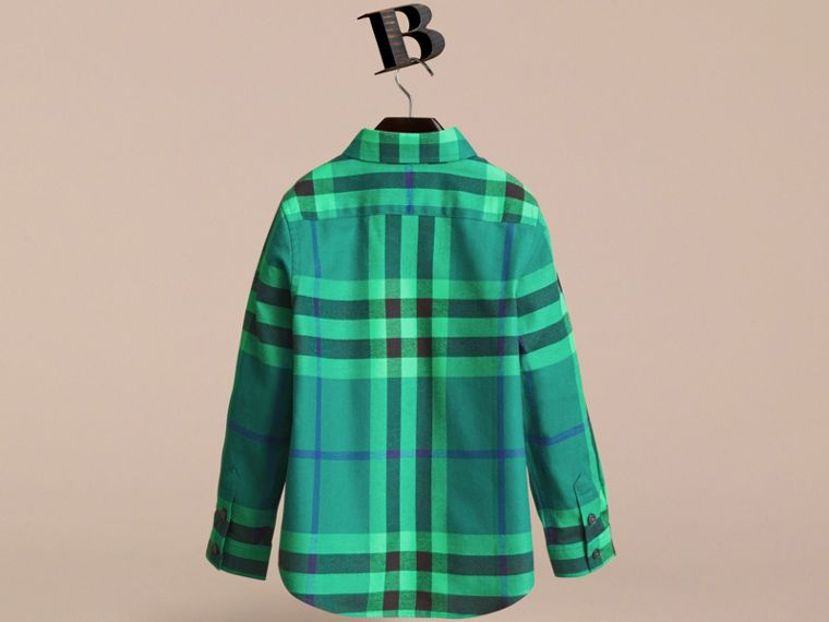 Check Cotton Flannel Button-Down Shirt in Pigment Green - Boy | Burberry - cell image 2